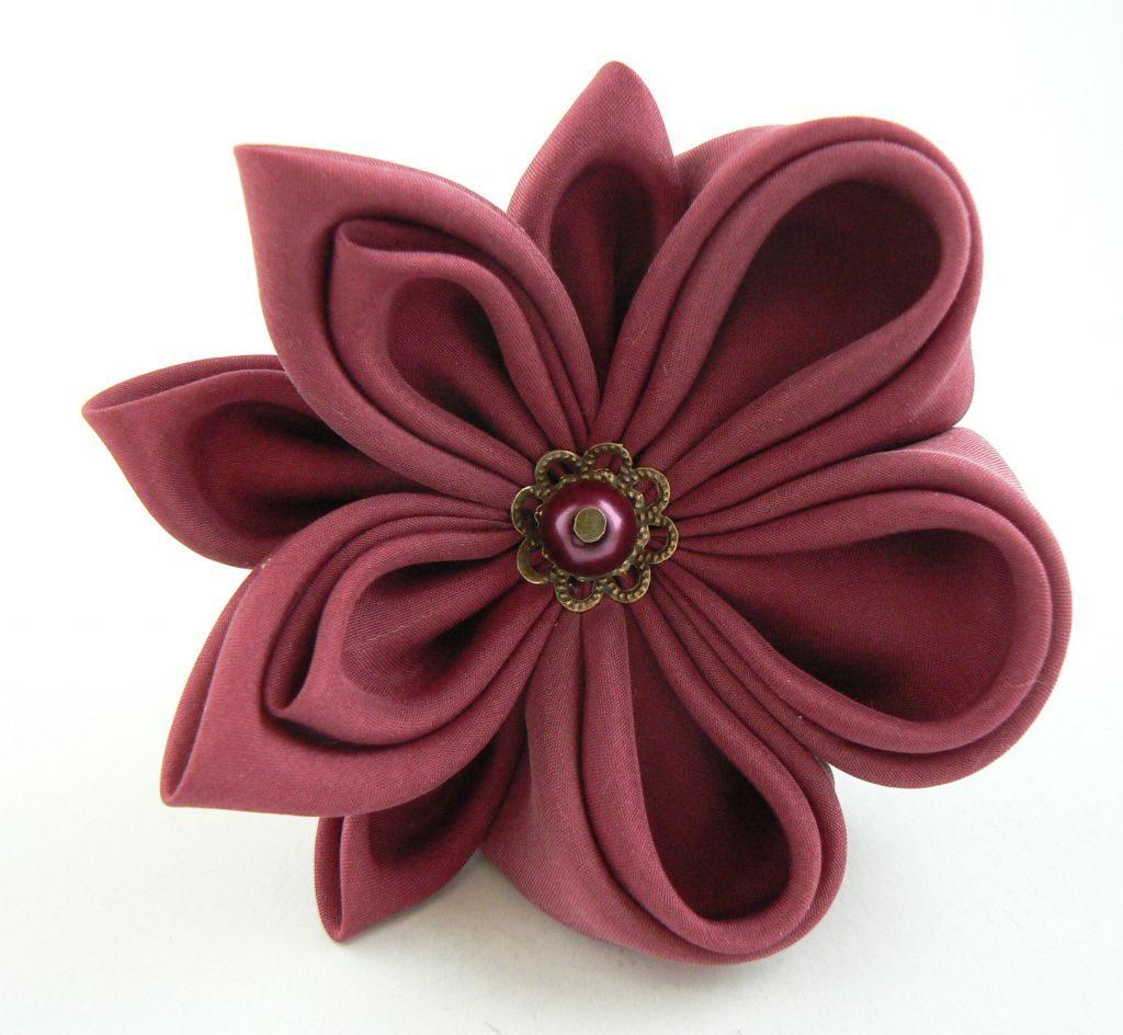 Floare visinie matase clama par kanzashi