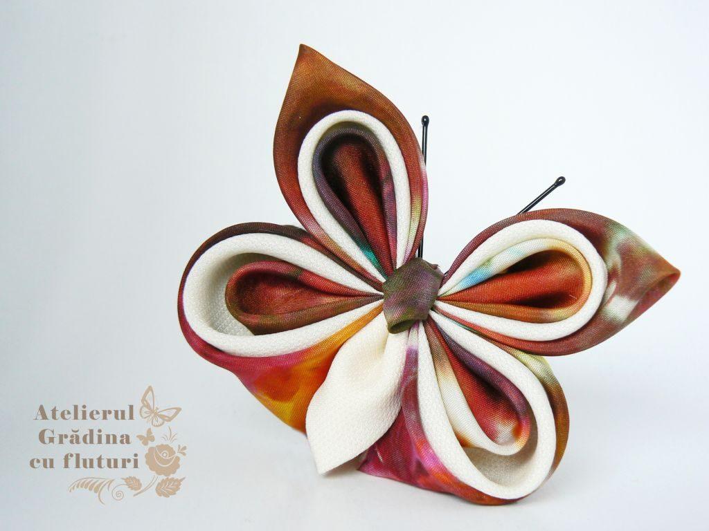 fluture colorat mătase broşă