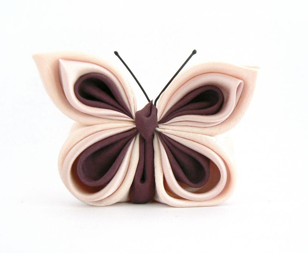 Fluture kanzashi roz plamaniu comanda brosa matase