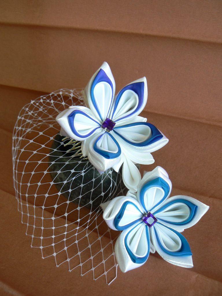 Flori mireasă satin alb mătase albastră voal