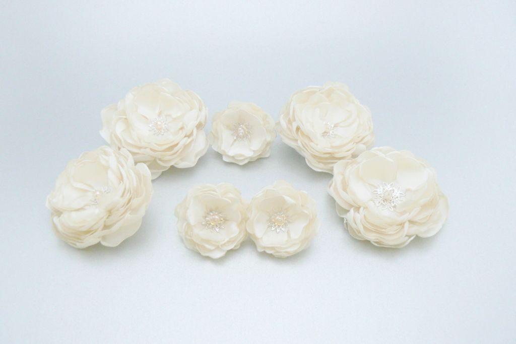 Set de flori pentru mirese 2 handmade satin