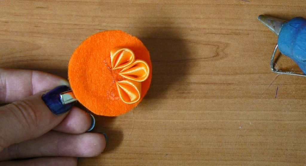 Kanzashi dahlia handmade flower diy tutorial 8