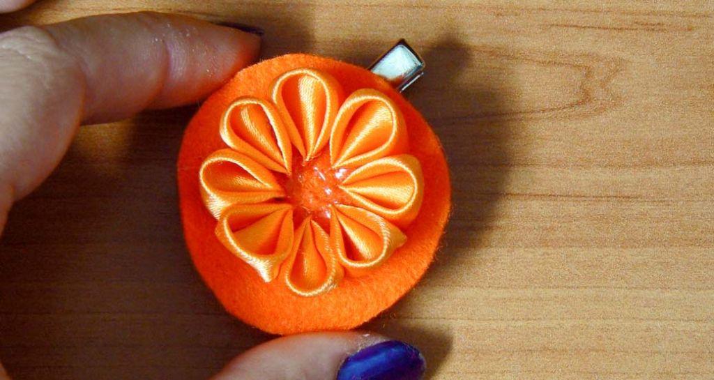 Kanzashi dahlia handmade flower diy tutorial 9