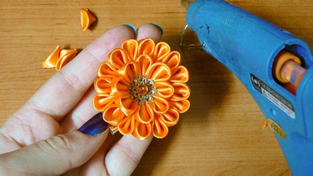 Kanzashi dahlia handmade flower diy tutorial 13