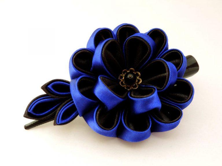 Bujor albastru negru - floare kanzashi satin