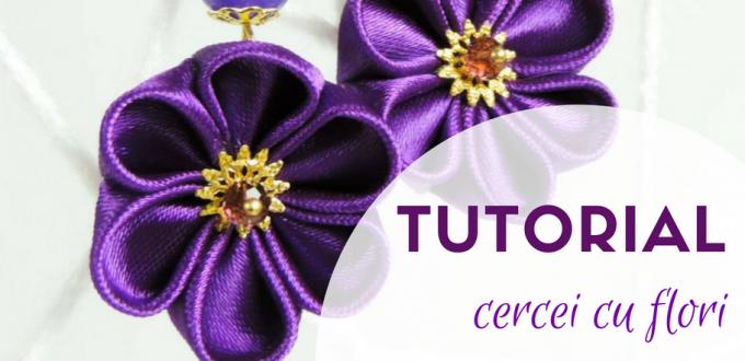 Tutorial cercei cu flori din material textil si pietre semipretioase