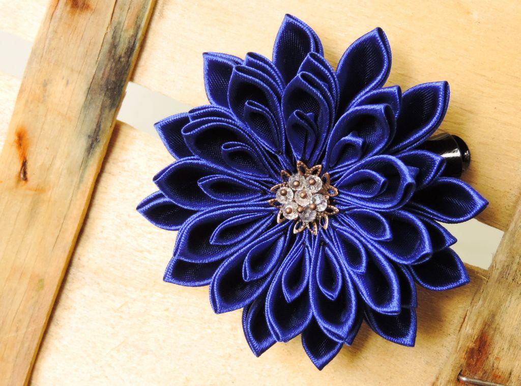 Tutorial crizantema kanzashi bleu roial - satin