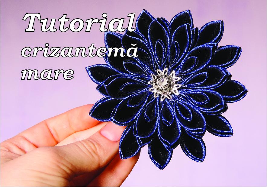 tutorial crizantema mare floare kanzashi satin