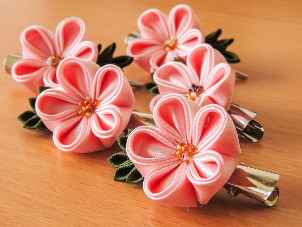 Pink satin fabric flowers - cherry blossoms - spring kanzashi flower