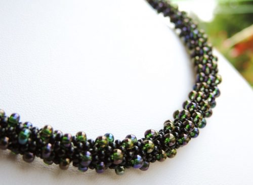 Colier margele Preciosa crosetate - AB si negru - bead crochet