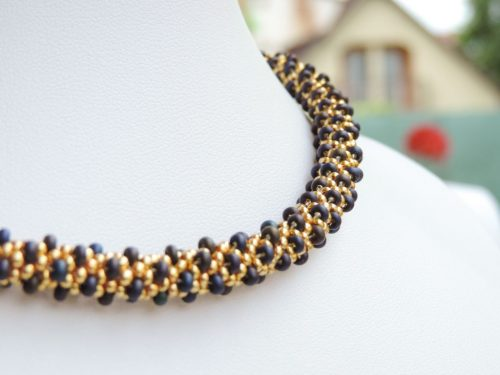Colier margele Preciosa crosetate - auriu si iris opac - bead crochet