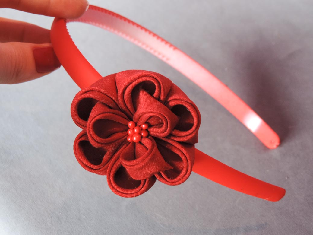 Peony flower tutorial - red flowered headband