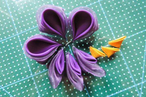 Tutorial floare de iris matase organza - toate petalele finalizate