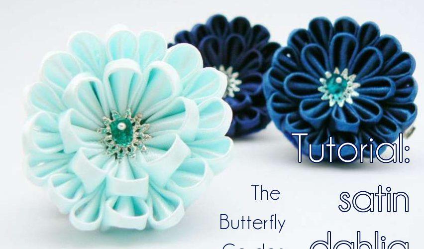 DIY satin dahlia tutorial - fabric flower, hair clip, brooch