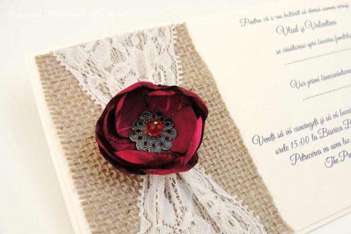 Floare cu petale topite pentru invitatie Kristina's Boutique