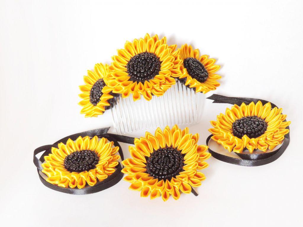 Set cu floarea soarelui cu margele negre