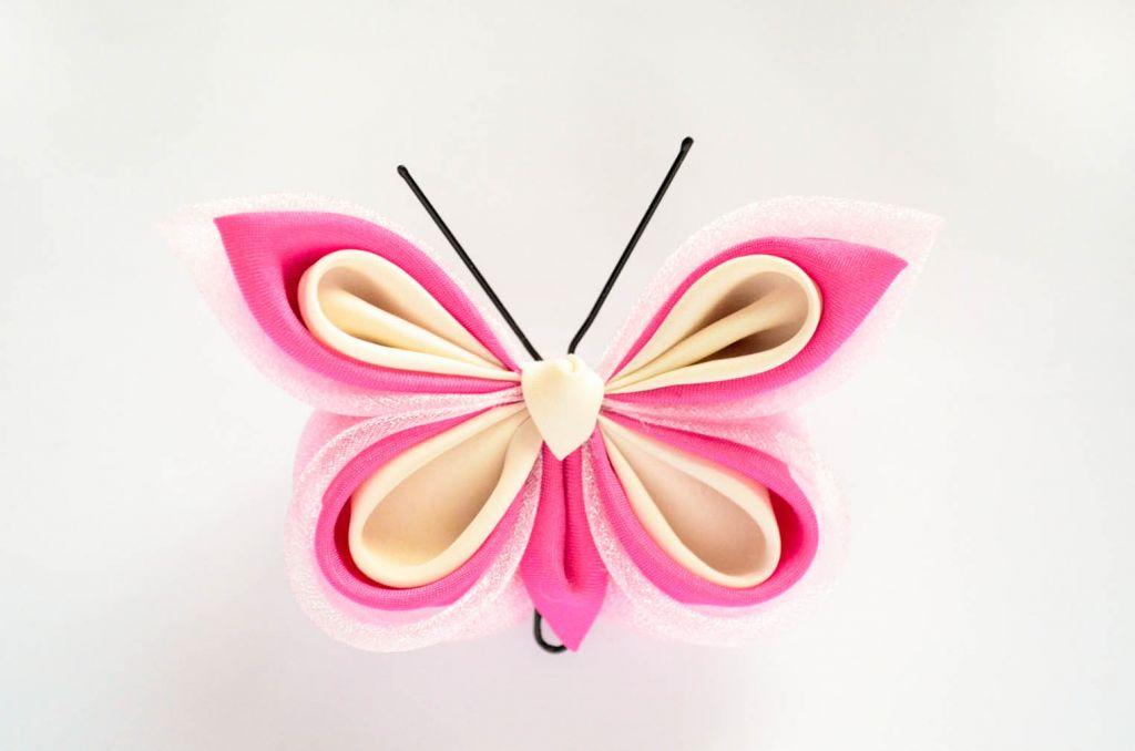 Fluture roz organza satin matase baza dubla