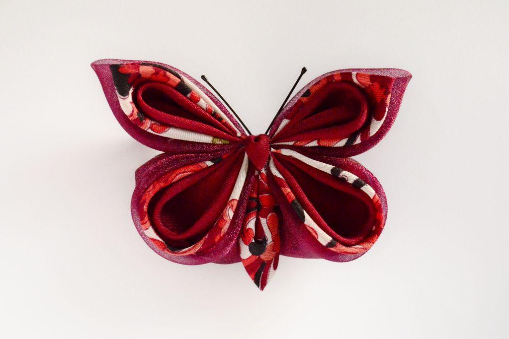 fluture visiniu organza