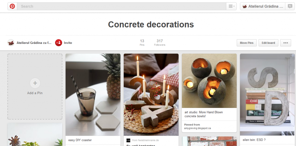 pinterest board cu decoratiuni din beton si mortar