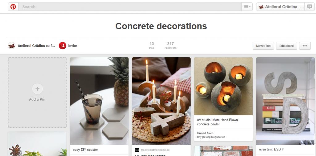 pinterest board cu decoratiuni din beton si mortar