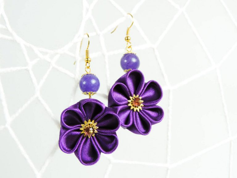 Fabric flower earrings - deep purple