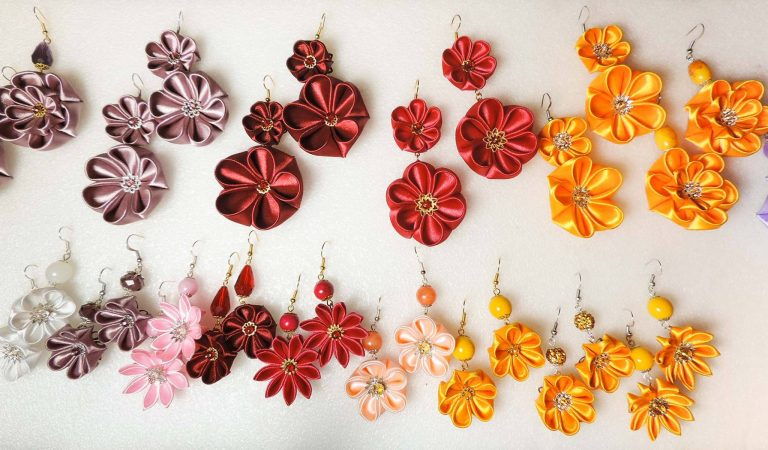 Many fabric flower earrings