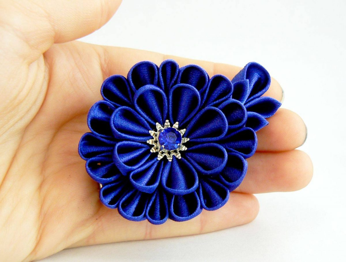 Royal blue satin fabric flower - dahlia