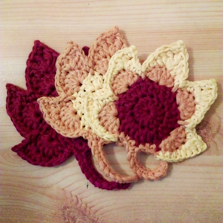 Crochet autumn leaves coaster - some finished