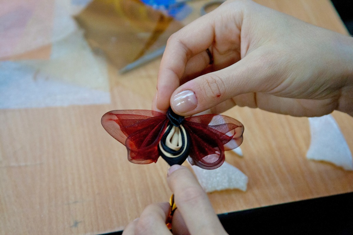 Tutorial satin organza butterfly - burgundy