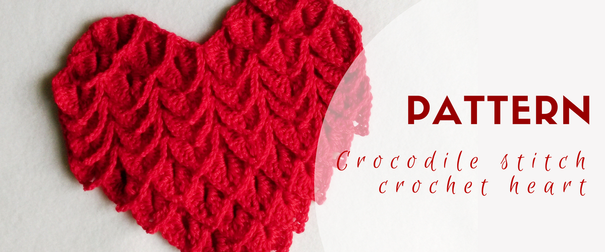 Crocodile stitch heart or leaf free crochet pattern crochet crocodile stitch heart pattern featured image dt1010fo