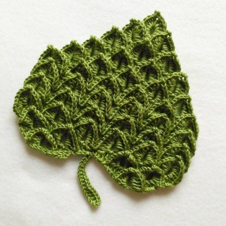 Crocodile Stitch Heart Or Leaf Free Crochet Pattern Grdina Cu