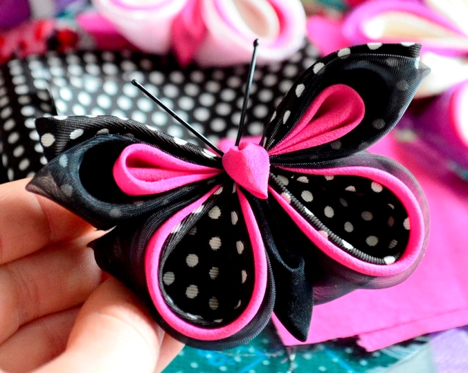 pink black polka dot butterfly 2