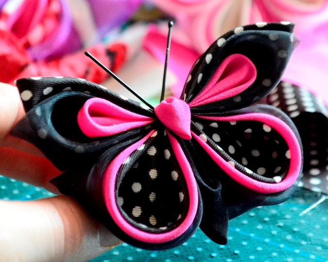 pink black polka dot butterfly 1