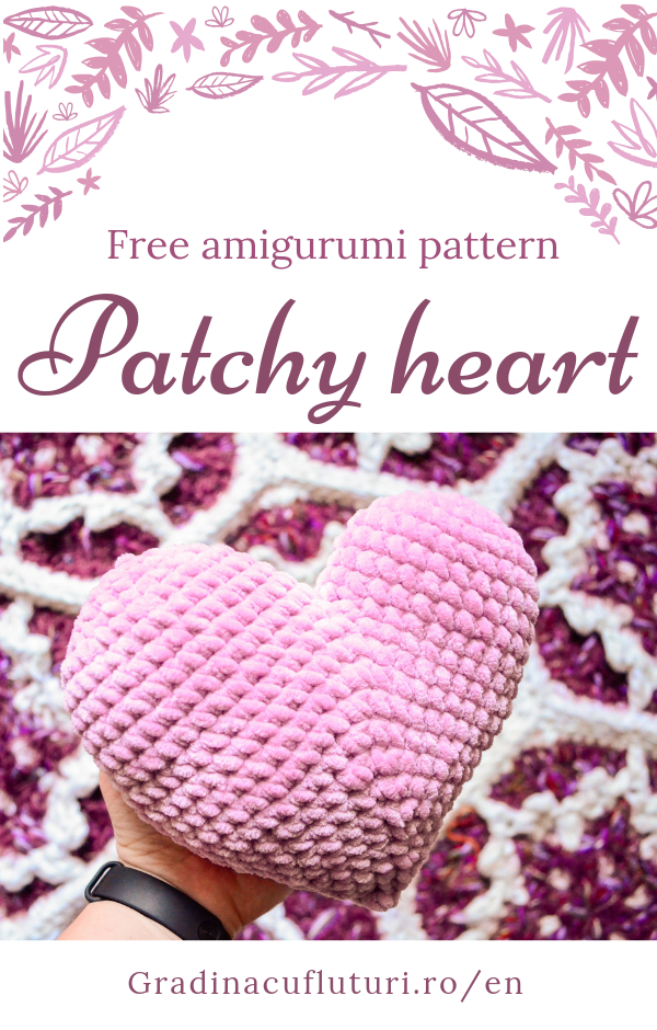 Patchy heart free amigurumi crochet pattern