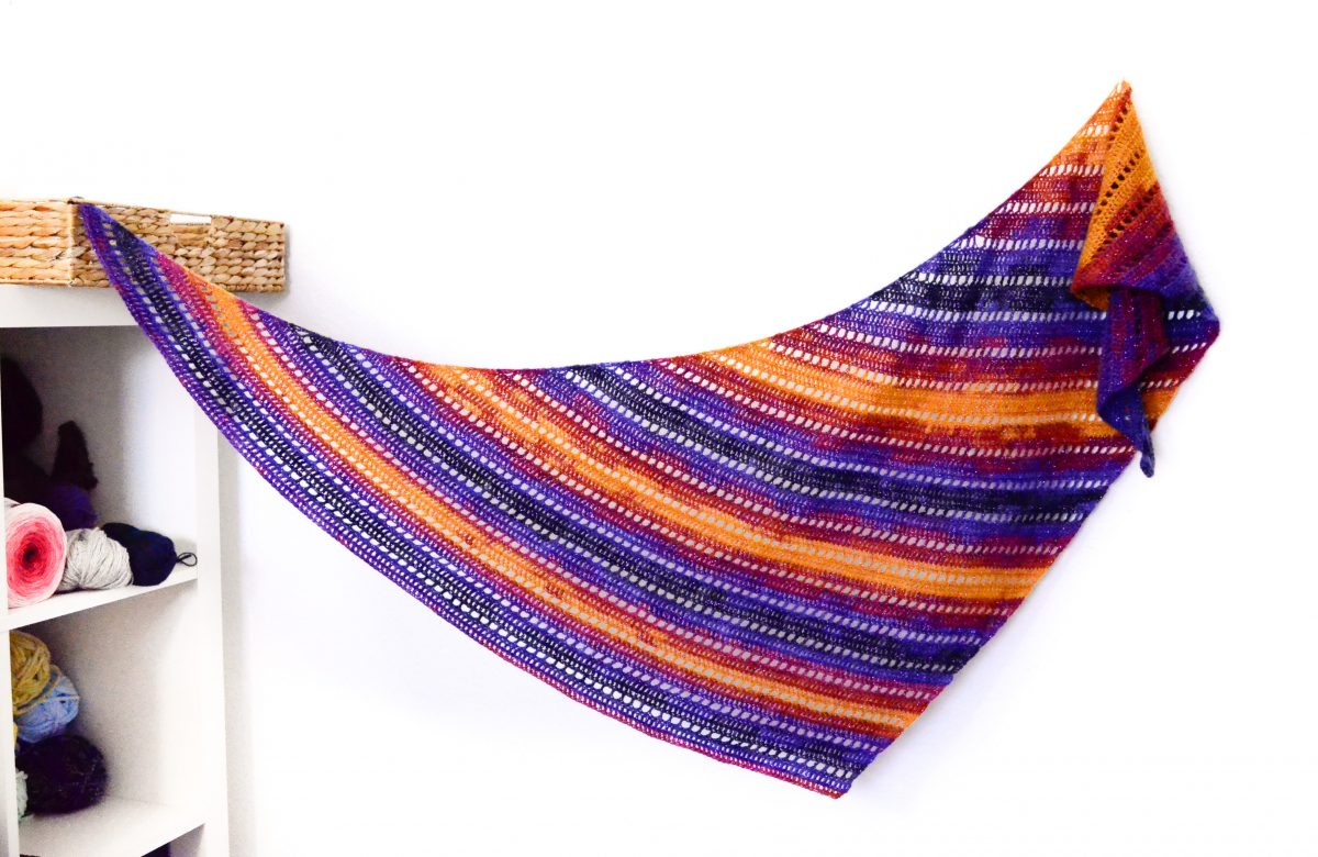 Rainbow Kizilkaya crescent shawl