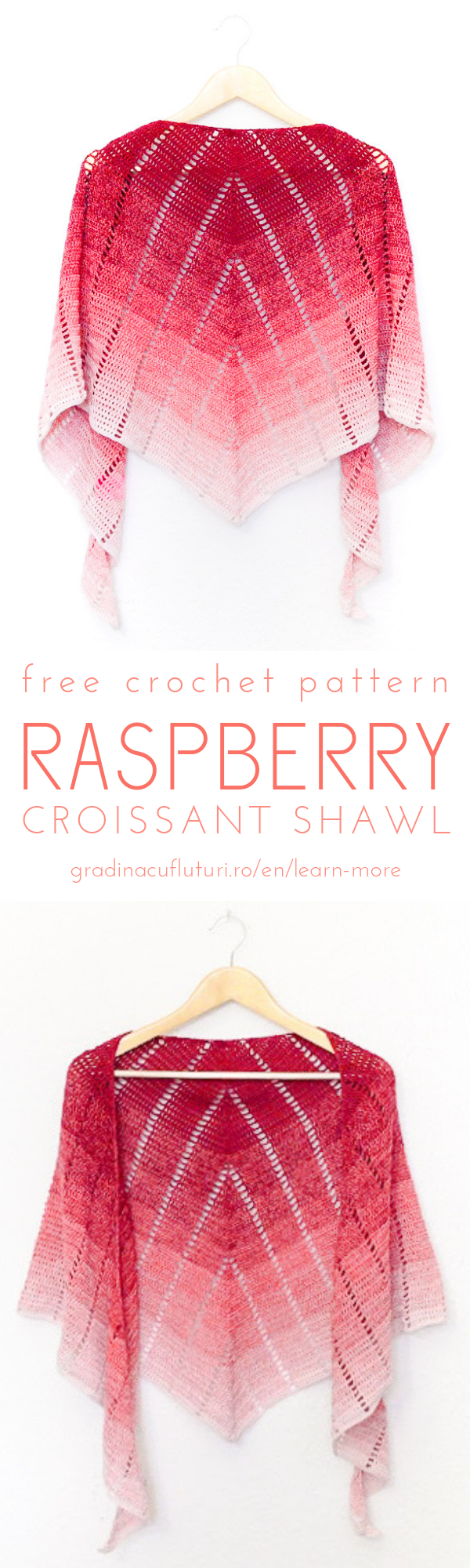 Raspberry croissant free crochet pattern - Andrea Cretu