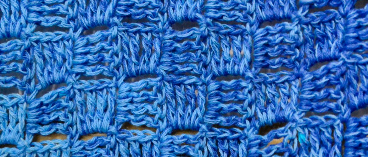 blue Detail - crochet blanket with waves